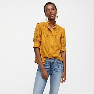 J.Crew mock neck embroidered blouse Small